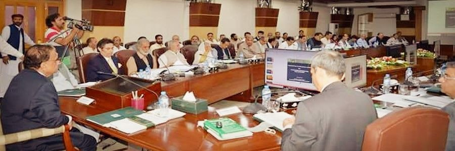 Caretaker Chief Minister of Khyber Pakhtunkhwa Justice Retd. Dost Muhammad Khan presiding over meeting regarding authorization of 4 months expenditure 2018