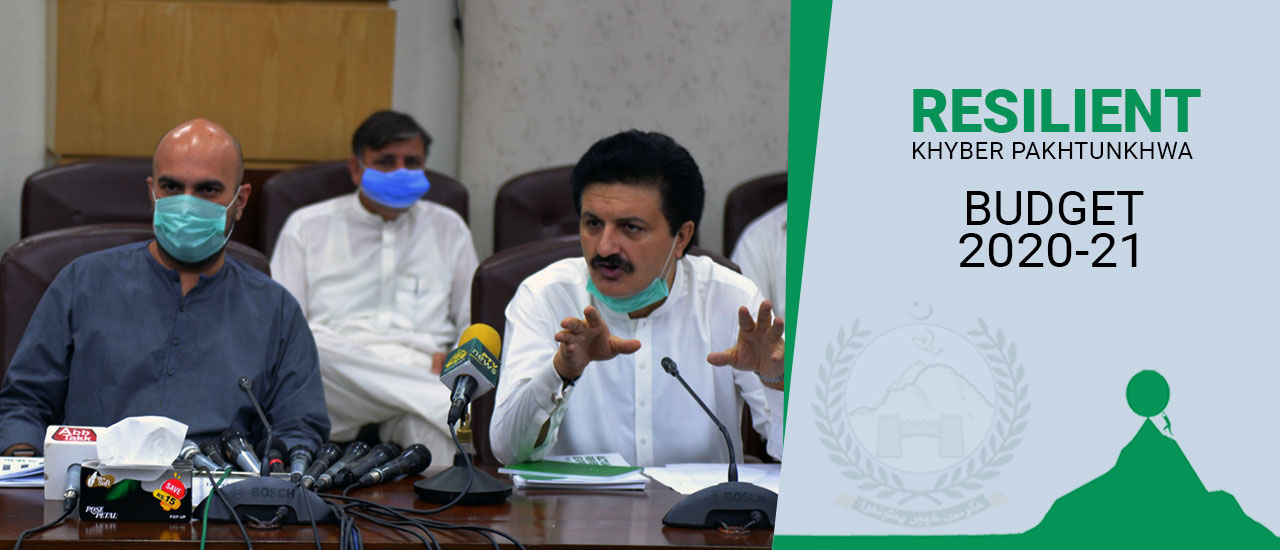 Advisor to Chief Minister Khyber Pakhtunkhwa Ajmal Khan Wazir addressing the Post Budget 2020-21 Press Conference