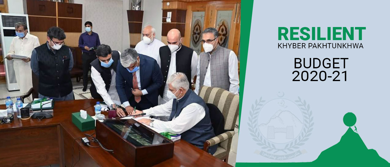 Chief Minister Khyber Pakhtunkhwa Mahmood Khan Signing approval of the Provincial Budget for the Financial Year 2020-21