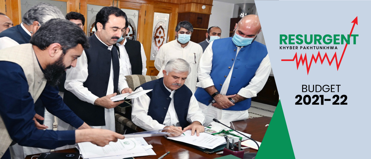 Chief Minister Khyber Pakhtunkhwa Mahmood Khan Signing approval of the Provincial Budget for the Financial Year 2021-22