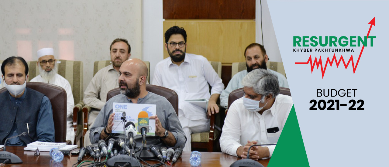 Provincial Minister for Finance Taimur Saleem Khan Jhagra addressing the Post Budget 2021-22 Press Conference